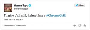 Warren Sapp Bucs Helmet Tweet