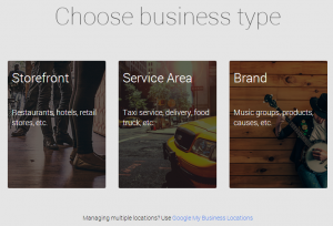Google My Business Setup Type