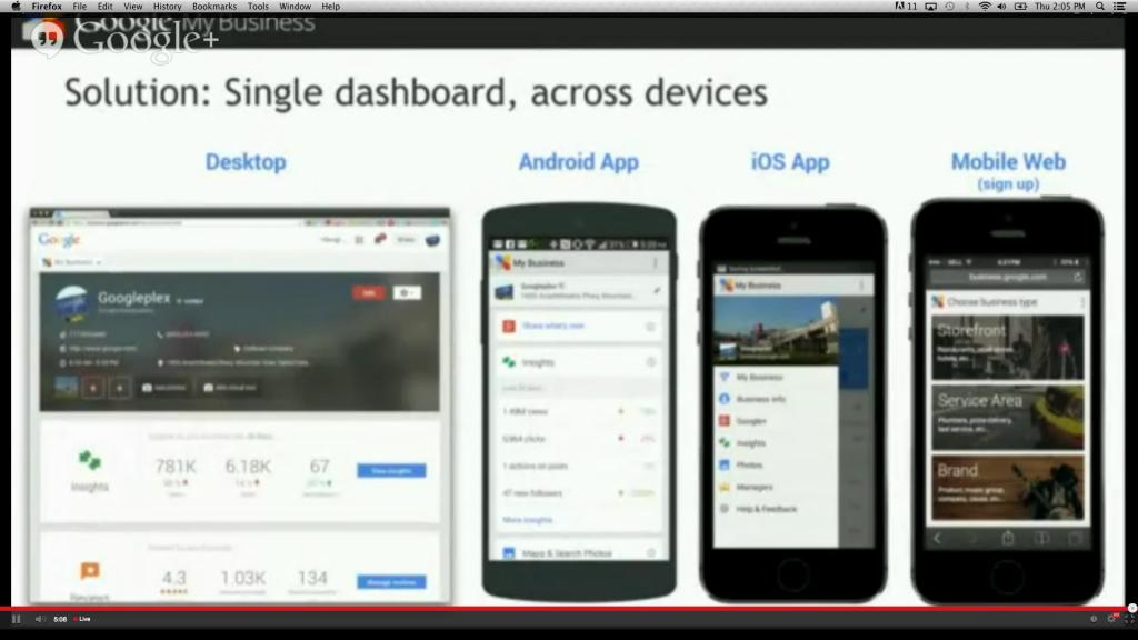 Google My Business Desktop & Mobile screens