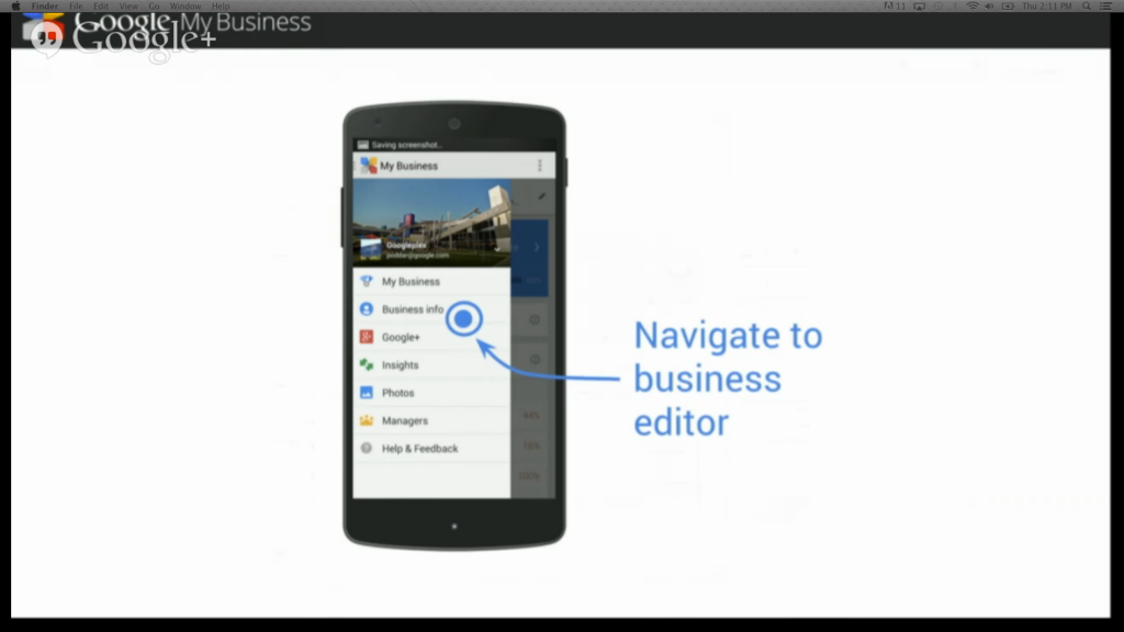 Google My Business Mobile Navigation